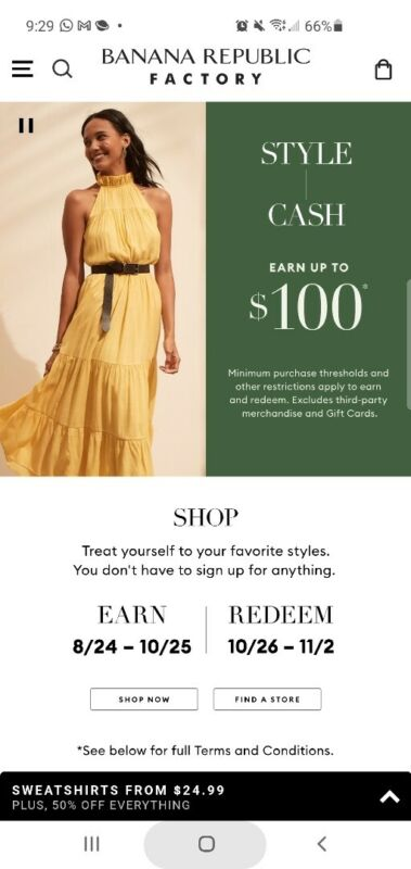 Banana Republic Factory STYLE CASH $100 of $200 Email fast Redemption 10/26-11/2