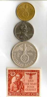#-5-)-*rare WWII-*German Stamp+ *US and  *German SILVER-brass-STEEL coins