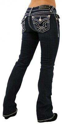 LA Idol Classic Rhinestone Studded Dark Blue Denim Bootcut Jeans -