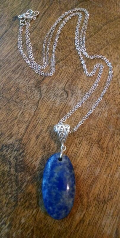 Handmade Gorgeous Lapis Lazuli Pendant & Solid Sterling Silver Necklace