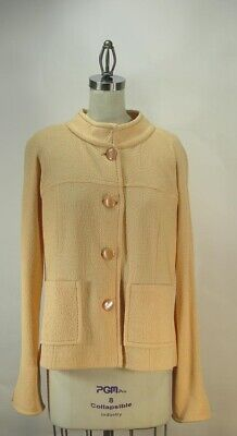ST JOHN Pastel Orange Santana Knit Jacket SZ 16 Jackie O