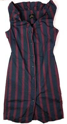 VIVIENNE WESTWOOD ANGLOMANIA STRIPED COTTON SLEEVELESS MONDAY SHIRT DRESS 44