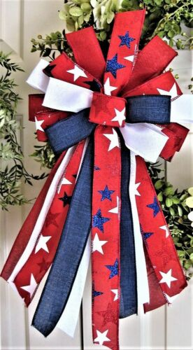 MEMORIAL DAY JULY 4th PATRIOTIC  BOW WIRED RIBBON / WREATH MAIL # 198