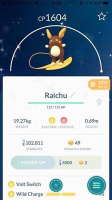 Shiny Raichu Alolan Pokemon Go Trade ( Registered Shiny Raichu Regular)