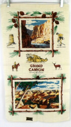 "Vintage Kay Dee Batchelder GRAND CANYON ARIZONA Linen Tea Towel 30""x17"" NOS"