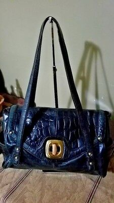 B.Makowsky BLACK Croc Embossed  Leather  Large Handbag Gold Hardware