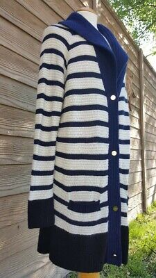 THE ROW Designer Cashmere Sweater Buttoned Cardigan in Navy Blue & Cream (The Row Designer)