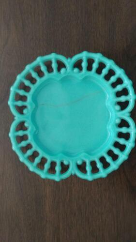 Antique blue pressed glass plate - damaged
