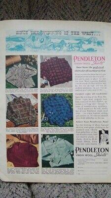 Vintage 1939 PENDLETON Woolen Mills advertisement in Original OUTDOOR LIFE mag