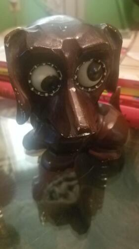 J Oswald Antique Wooden Rolling Eyes Dachund VERY RARE Dog made in Germany Clock