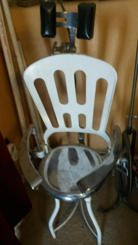 White Iron coated porcelain Dentist Chair - ANTIQUE used with dental drill stand