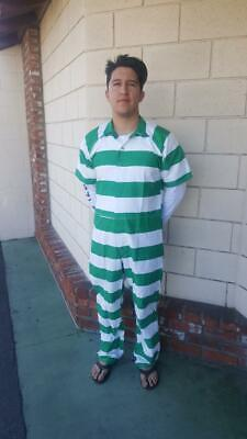 Jail Prison Penitentiary Inmate Jumpsuit clothing Green & White Stripe - Prison Costumes