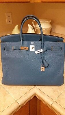 Hermes Birkin 40 Blue De Galice Phw P Stamp Gorgeous Bag Togo Phenomenal Skin