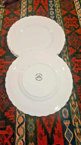 "4 Susie Cooper White Fluted 6.5"" Bread and Butter Plates Bone China England"