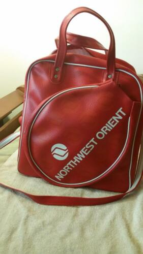 RARE NORTHWEST ORIENT AIRLINES RED VINYL CARRY-ON Tennis BAG