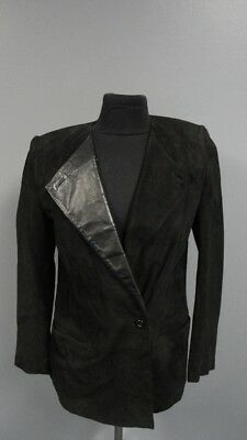 BEGED-OR Black Solid Leather Lined One Button Blazer Jacket Size 10 FF2938 ()