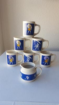 7 Vintage Morton's Salt Mugs & Creamer Cup 1914 1921 1956 1956 1968 1968