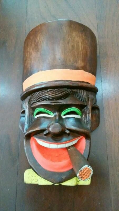 Vintage Smoker Wooden Mask Philippines OMEN Size 26.5 cm Kibori From Japan Used