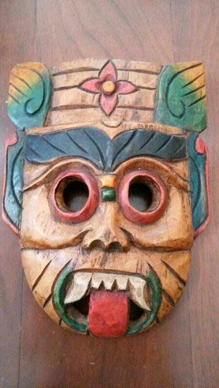 Vintage Wooden Mask Malaysia OMEN Size 20 cm Wall Hanging Kibori From Japan Used