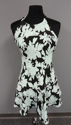 PARKER Blue Black Nylon Blend Floral Print Lined Halter Dress Size M FF3539 Nylon Print Halter Dress