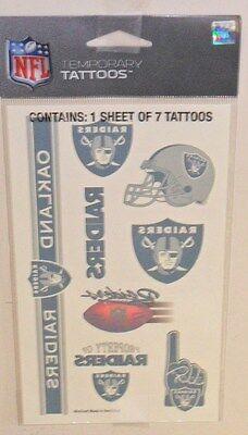 NFL OAKLAND RAIDERS TEMPORARY TATTOOS 1 SHEET 7 TATTOOS FAST FREE SHIPPING](Raiders Tattoos)