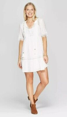 Knox Rose Womens Elbow 3/4 Sleeve V-Neck White Shift Midi Dress With Embroidery