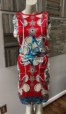 Versace Collection Jersey Short Sleeve Star Printed Dress Size 38