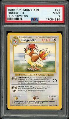 Pokemon PSA 9 Shadowless Pidgeotto 22 Base Set Non-Holo Rare
