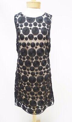 NWT Alice & Olivia Black Nude Dot Lace Sleeveless Shift Dress SZ 12  $396