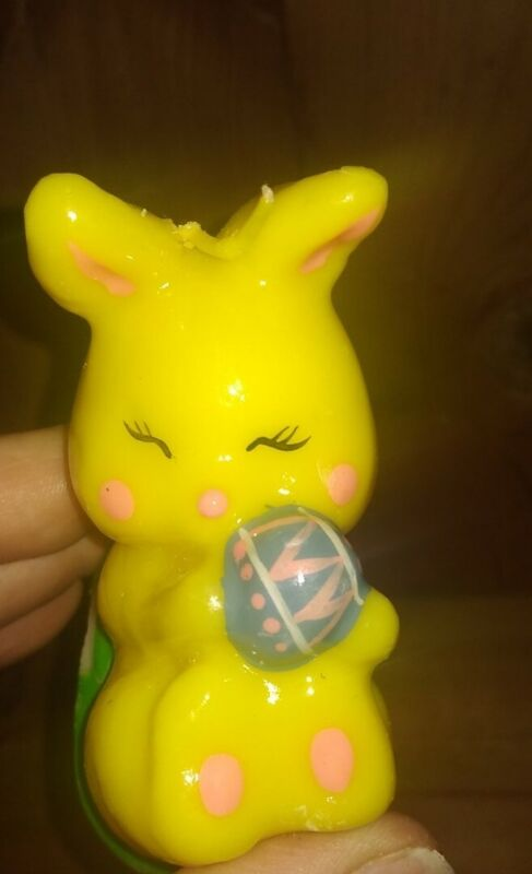 Vintage  Cute Bunny Wax  Figural  Candle