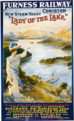Vintage Rail travel advertising poster  A4 RE PRINT Furness Railway  Coniston