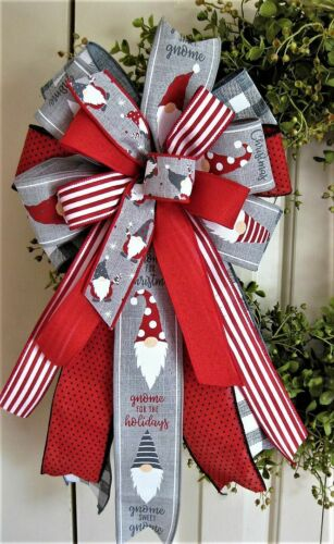 GNOMES GREY / RED / WHITE & BUFFALO WIRED BOW, WREATH SWAG GARLAND MAIL # 107 rb