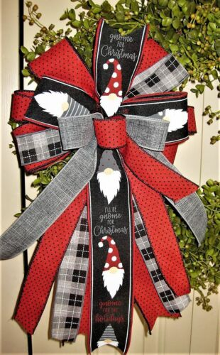 GNOMES BLACK - RED / WHITE WIRED BOW, WREATH SWAG GARLAND MAIL # 108 rb