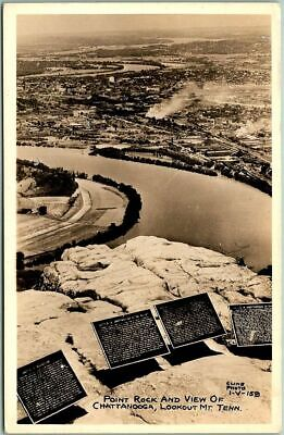 """Lookout Mountain TN RPPC Real Photo Postcard """"Point Rock & View of Chattanooga"""""""