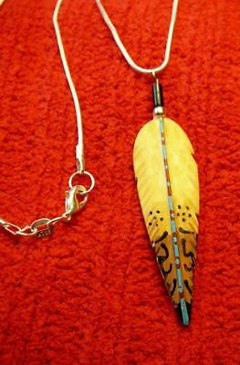 Awesome!!! Bone Redtail Hawk Bone Feather Necklace - Native American
