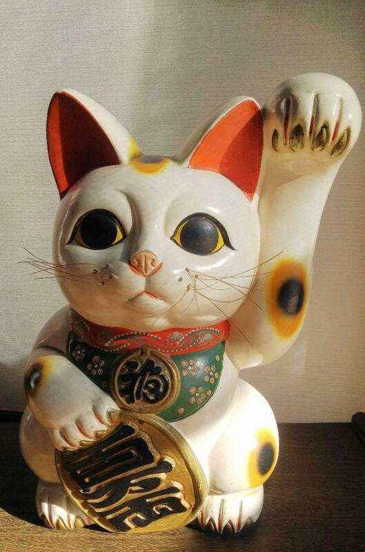Maneki Neko Lucky Cat Coin Bank Left Hand Up White About 41.0cm Japanese