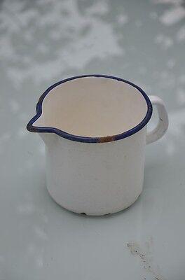 Milchtopf, Emaille, antik, 40er Jahre, wunderschön, blau mit weiß, vgl. Fotos!