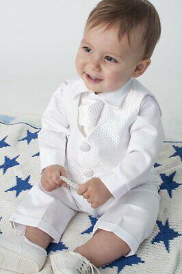 Baby Taufanzug 4tlg. Jungen Anzug Festanzug Kinderanzug Babyanzug Festlich weiss
