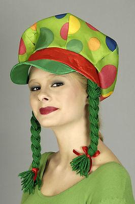 Kappe mit Zöpfen Gretchen Hut Clown Mütze grün Punkte Clownsmütze ()