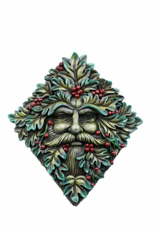 Fantasy Garden Greenman Face Resin Figurine Wall Plaque