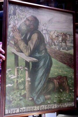 Der heilige Isidor 70x50 cm org. Farb-Lithographie um 1909 Georg Winkler Kapelle