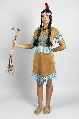 Indianerin Squaw Damen Kostüm Wildleder Optik hellbraun türkis Kleid m (Indianer Kleid)