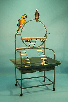 """Large """"O""""  Wrought Iron Parrot Bird Play Gym Stand With Stainless Steel Cups899"""