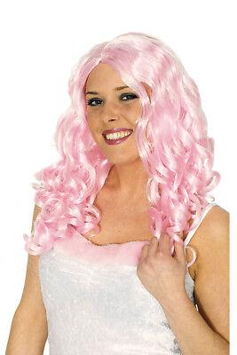 Damen PERÜCKE Joy rosa LOCKEN Kostüm Hippie 60er - Rosa Perücke Kostüme