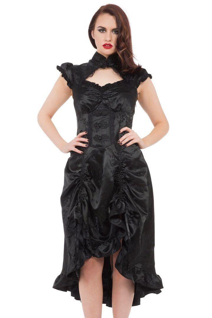 eb960c4b61 Details about Women's Black Gothic Long Steampunk Victorian Brocade Frill  Dress Goth Emo