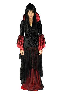2 tlg Vampir Hexen Spinnen Gothic Kostüm mit Halsband 36-38