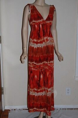 BISOU BISOU Full Length Long Red Fire Tie Dye Acid Wash Stretch Womens Dress 6