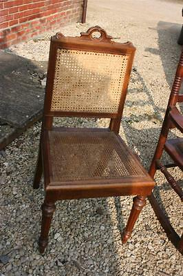 antique chair split cane pannels carved back DESK dining hall bath at OX14