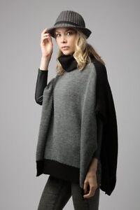 6e2a21d01 Color Block Waffle & Rib Knit Shawl with Turtleneck Gray Black Poncho  Outwear#1