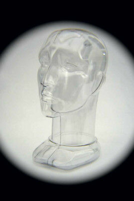Unisex Head Form Mannequin Display.  Rigid Clear Plastic. Modern Design.
